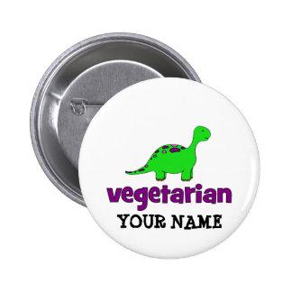 Vegetarian - Dinosaur Design 2 Inch Round Button