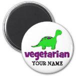 Vegetarian - Dinosaur Design 2 Inch Round Magnet