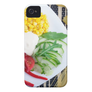 Vegetarian dish of raw vegetables and mozzarella iPhone 4 cover