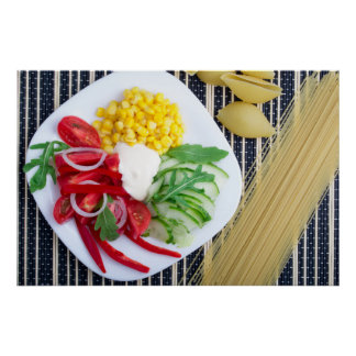 Vegetarian dish of raw vegetables and mozzarella poster