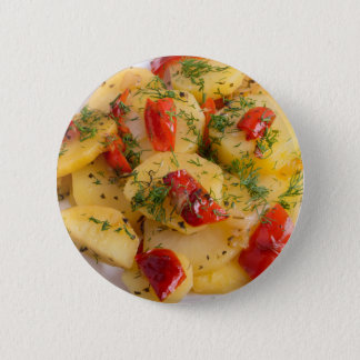 Vegetarian dish with organic vegetables button