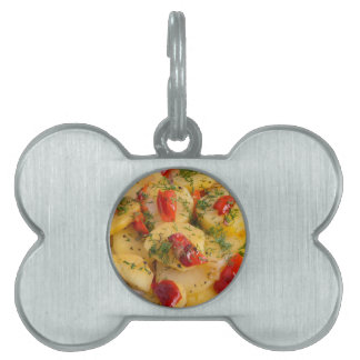 Vegetarian dish with organic vegetables pet ID tag