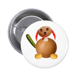 Vegetarian dog, to ideales add your own text. pin redondo 5 cm