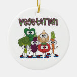 Vegetarian Double-Sided Ceramic Round Christmas Ornament