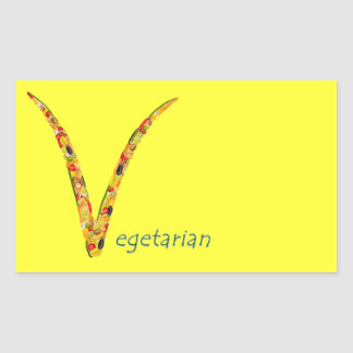 """""""Vegetarian"""" - Feel free to add your own text Rectangular Sticker"""