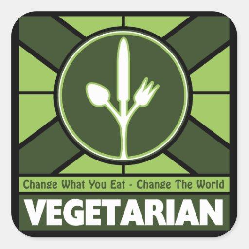 Vegetarian Flag Square Stickers