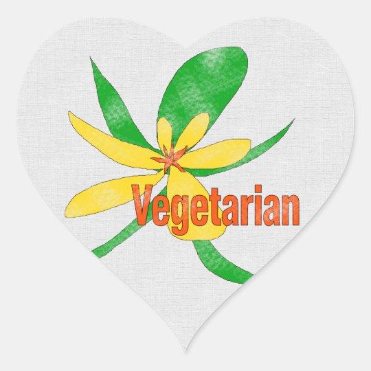 Vegetarian Flower Heart Sticker