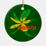 Vegetarian Flower Double-Sided Ceramic Round Christmas Ornament