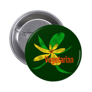Vegetarian Flower Pinback Button
