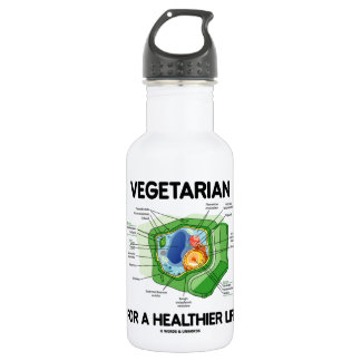Vegetarian For A Healthier Life (Plant Cell) 18oz Water Bottle