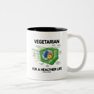 Vegetarian For A Healthier Life (Plant Cell) Two-Tone Coffee Mug