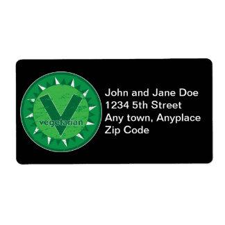Vegetarian Green Logo Shipping Label