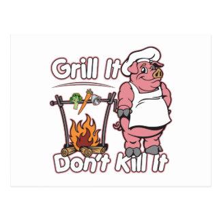 Vegetarian Grill It Don't Kill It Postcard