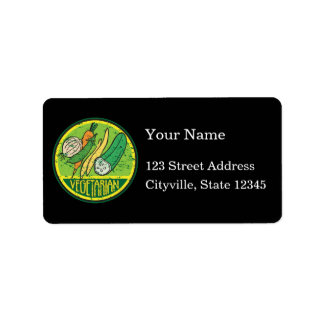 Vegetarian Grunge Personalized Address Labels