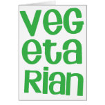 VEGETARIAN in green Greeting Cards