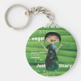 Vegetarian is no alien! basic round button keychain