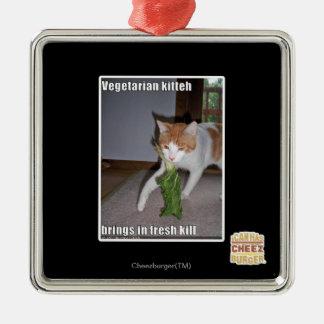 Vegetarian Kitteh Square Metal Christmas Ornament