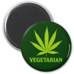 Vegetarian Marijuana Cannabis Pot Weed humor funny Fridge Magnets