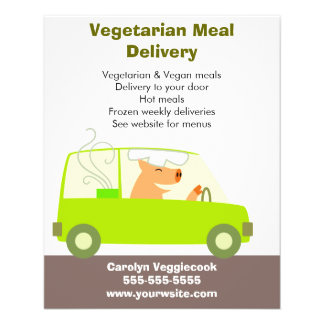 """Vegetarian Meal Delivery Service 4.5"""" X 5.6"""" Flyer"""