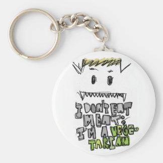 Vegetarian ~mon basic round button keychain