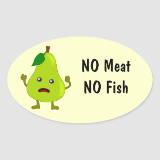 Vegetarian -- No Meat, No Fish Food Labels: Pear Oval Sticker
