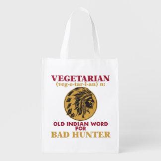 Vegetarian Old Indian Word for Bad Hunter Market Totes