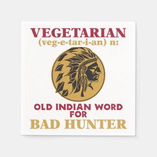 Vegetarian Old Indian Word for Bad Hunter Paper Napkin