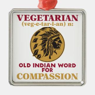 Vegetarian Old Indian Word Metal Ornament