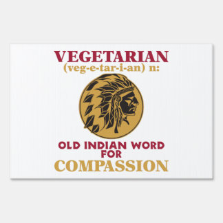 Vegetarian Old Indian Word Sign