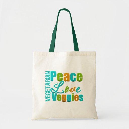 Vegetarian Peace Love Veggies Budget Tote Bag