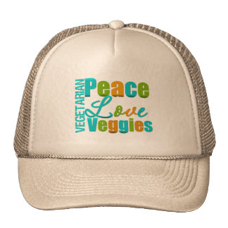 Vegetarian Peace Love Veggies Trucker Hat