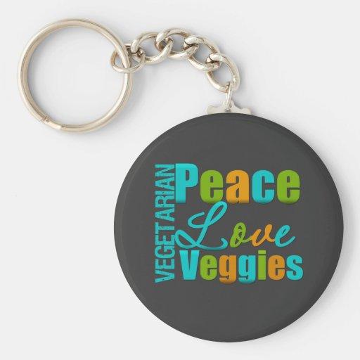 Vegetarian Peace Love Veggies Key Chain