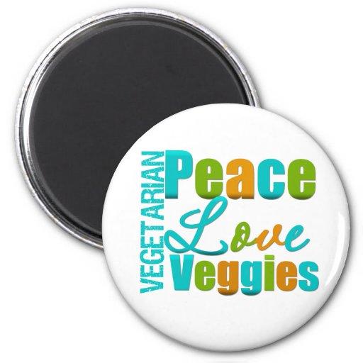 Vegetarian Peace Love Veggies Magnet
