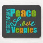 Vegetarian Peace Love Veggies Mouse Pad