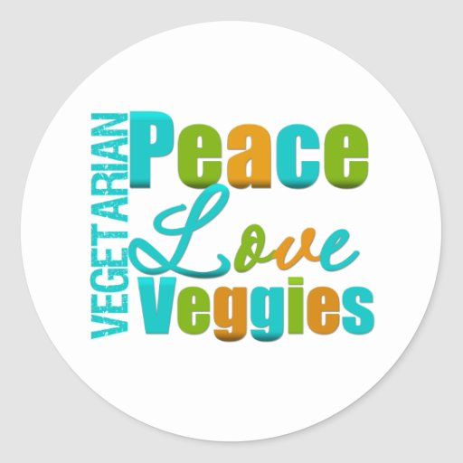 Vegetarian Peace Love Veggies Round Stickers