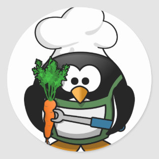 Vegetarian Penguin Chef - Veggie Cook Classic Round Sticker