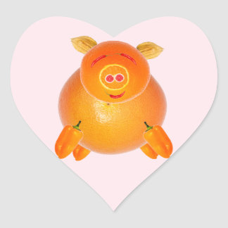 Vegetarian piglet, to ideales add your own text. pegatina en forma de corazón