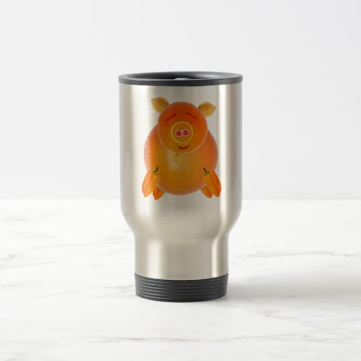 Vegetarian piglet, to ideales add your own text. taza de viaje