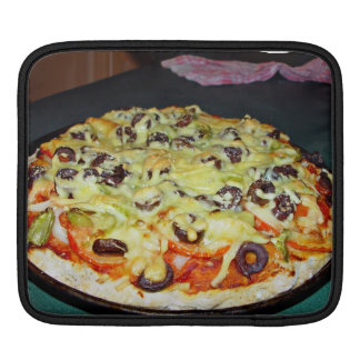 vegetarian pizza, with olives and capsicum sleeve for iPads