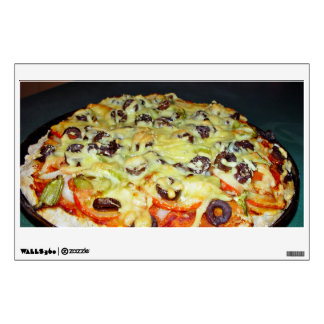 vegetarian pizza, with olives and capsicum wall graphic