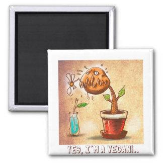vegetarian plant funny cartoon magnet