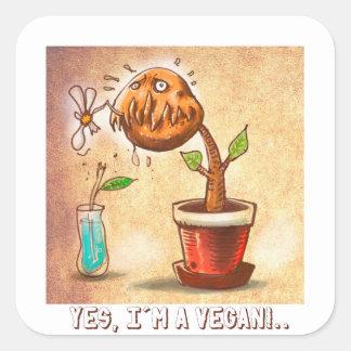 vegetarian plant funny cartoon square sticker
