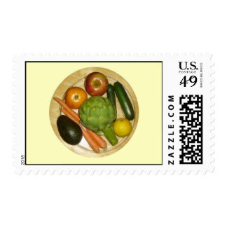 Vegetarian plate postage stamps