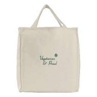 Vegetarian, & Proud Embroidered Tote Bags