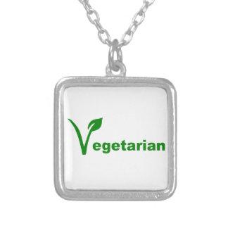 Vegetarian Square Pendant Necklace