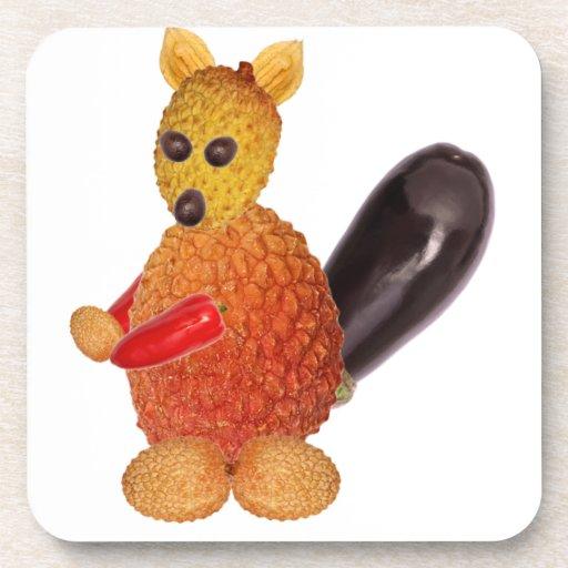 Vegetarian squirrel, to ideales add your own text. posavasos de bebidas
