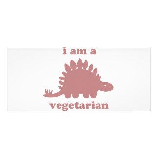 Vegetarian Stegosaurus Dinosaur - Pink Customized Rack Card