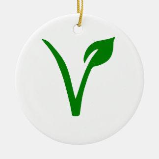 Vegetarian symbol ceramic ornament