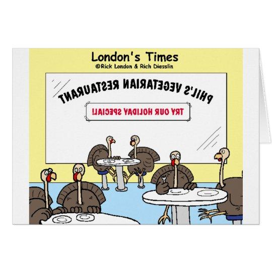 Vegetarian Turkey Offbeat Cartoon Funny Gifts Card