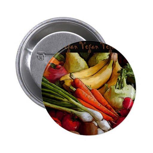 Vegetarian Vegan Fruits Vegetables Pinback Button